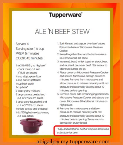 Ale (or beef/chicken stock) 'n' Beef Stew in Tupperware Microwave Pressure Cooker abigailjoy.my.tupperware.com