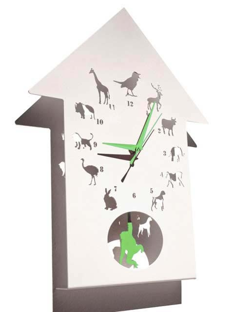 Polly Westergaard Animalask clock available with a red, green, or pink set of hands and Monkey.  this clock uses the bold images of a variety of animals, with a cuckoo bird at 12 o'clock and a monkey swinging on the pendulum at 6, to offer children a fun and exciting way to learn to tell the time. of course, there is nothing to stop adults loving the clock too!!! the clock is made from powder coated mild steel.