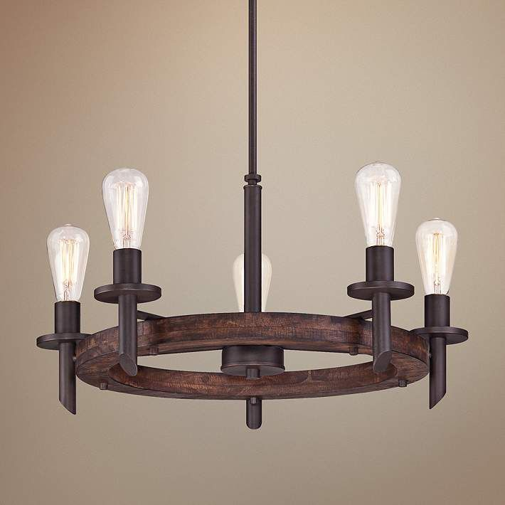 Quoizel Tavern 5-Light Dark Bronze Chandelier - #3M284 | Lamps Plus