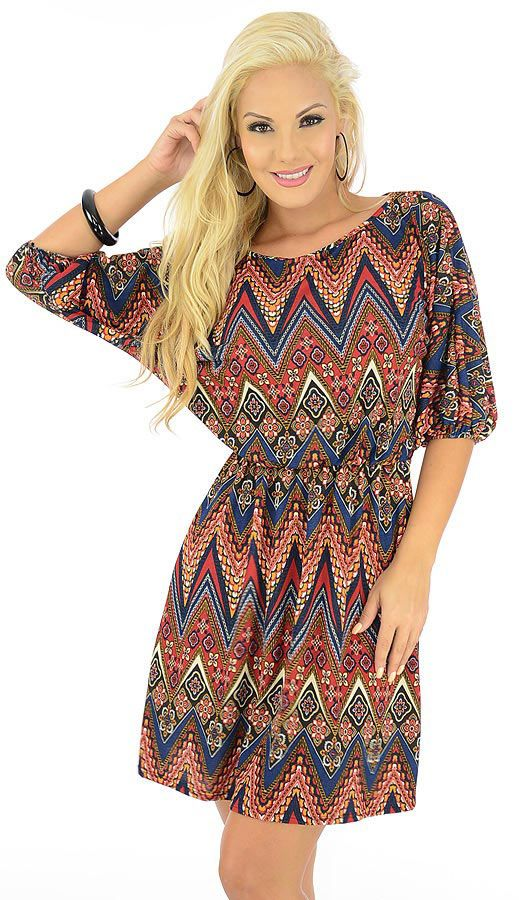 Got-$21.80-Show them what you have got with this divine dress. A chevron inspired print with floral accents graces the soft knit fashion, adding a fun, trendy flavor. Elastic at the waist and sleeve ends ensures a secure feel.