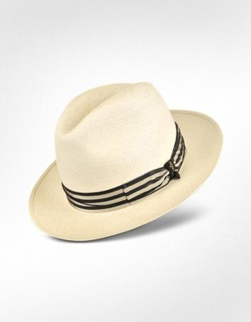 Borsalino Panama Hut mit Streifenband in beige und blau