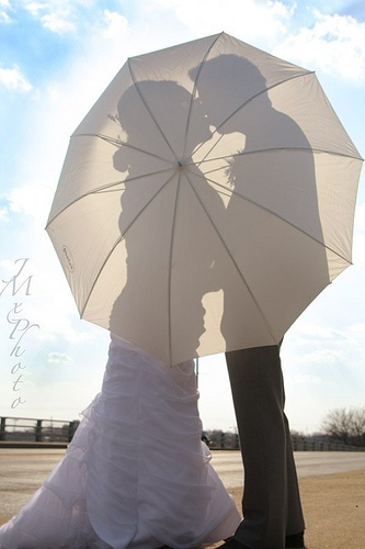 wedding photo umbrella and shadow