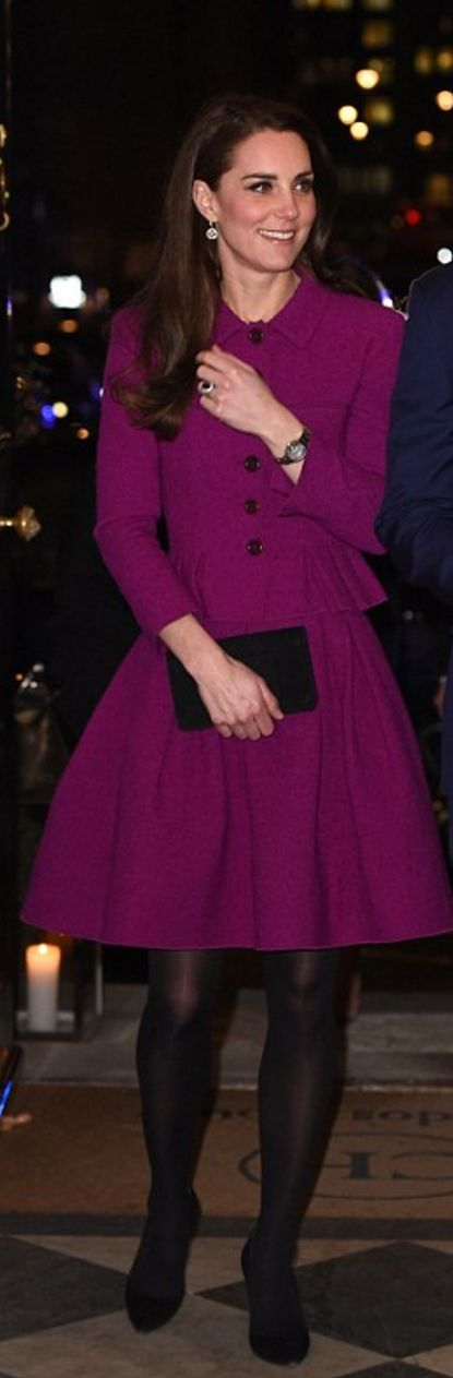 Who made  Kate Middleton's jewelry, purple peplum jacket, pleated skirt, watch, black clutch handbag, and suede ankle pumps?