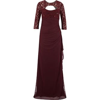 Betsy & Adam Wine Lace Ruched Gown