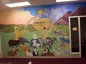 Church nursery idea noah 39 s ark church pinterest for Church nursery mural ideas
