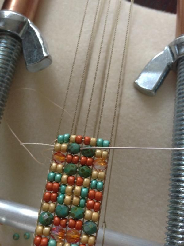 How to start a new thread when weaving beads on a loom.