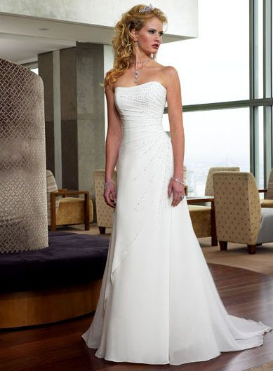 Strapless Straight Neckkine, A line Skirt, Chapel Train, Lace up Elegant Wedding Dress WM-0029