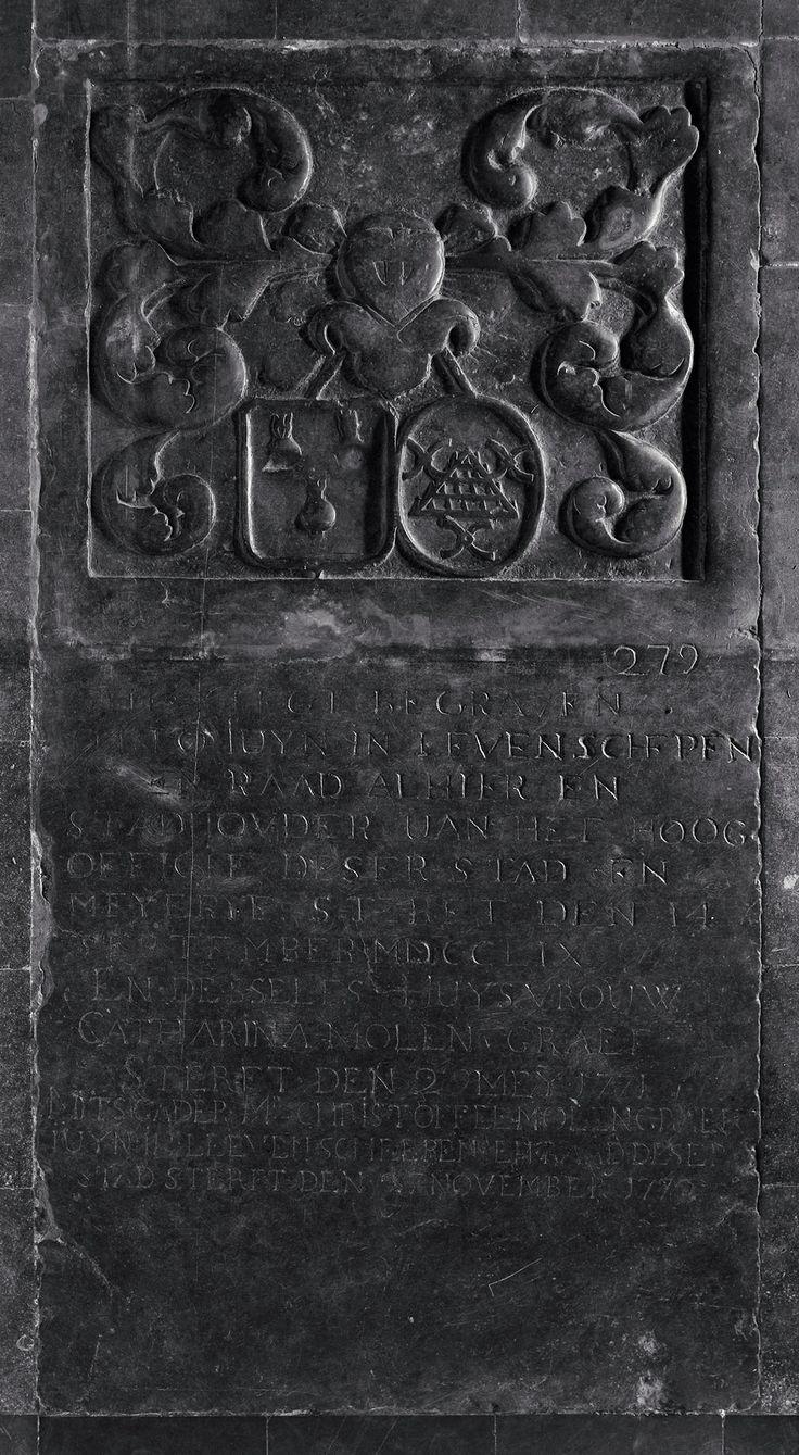 Familiewapen Molengraaf op grafzerk van de St. Jan, Den Bosch   Alliantiewapen echtpaar (2 schilden, vrouwswapen in ovaalvorm): 1 drie juinen [Juyn]; 2 een driekantige eg, vergezeld van drie liggende molenijzers, boven twee en beneden een [Molengraef]. Beide schilden hangend aan een lint uit de helm komend. Helm. Dekkleden. Er is geen wrong, kroon of helmteken. Het zegel van zijn zoon Christoffel Molengraaf Juijn [doorsneden; I goud-gearceerd waarop drie juinen, de middelste iets lager; II…