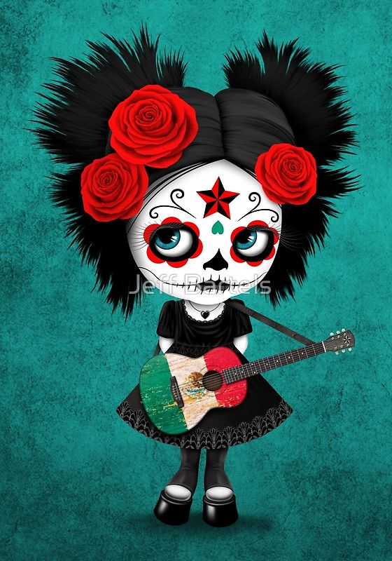 Sugar Skull Girl Playing Mexican Flag Guitar by jeff bartels