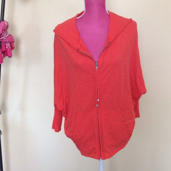 Vince Camuto zip up hoodie Lightweight and adorable!!  Two by Vince Camuto orange zip up hoodie. Full front zipper. Dolman sleeves with rubbed cuffs. Ribbing down sides. Two front pockets. 100% cotton. Vince Camuto Jackets & Coats
