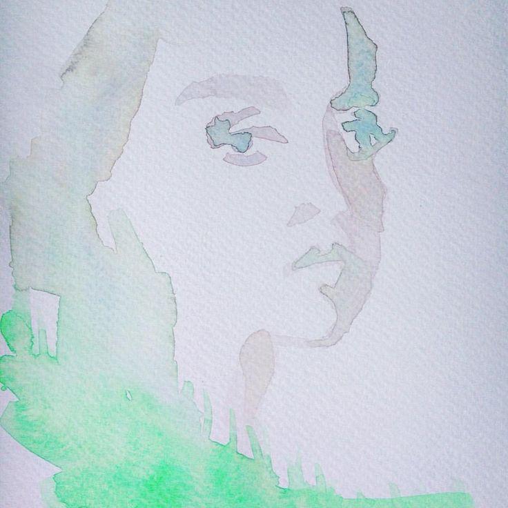Instagram @kimartinsartist  || Number 2 || 15cmx19,cm watercolor ink in watercolor paper #watercolor #painting #art #portrait #decoration #wall #kimartinsartist #color