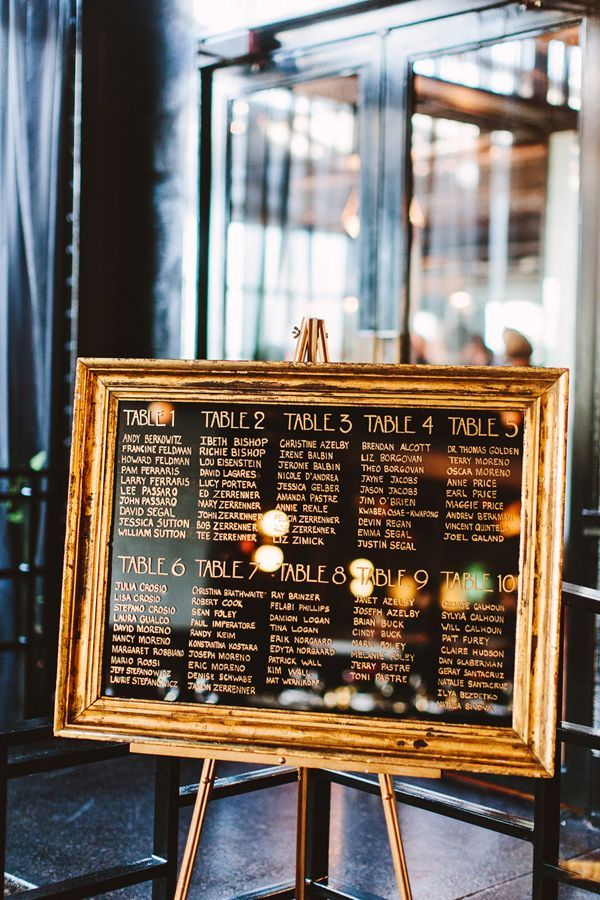 framed gold seating chart - photo by Pat Furey http://ruffledblog.com/art-deco-inspired-brooklyn-wedding