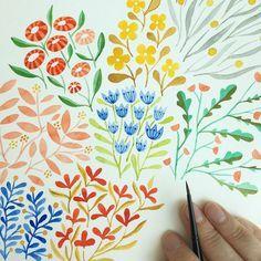 Progress. #makingitupasigo #painting #pattern #watercolor #handbookwatercolorjournal #floral #flowers #leaves #makingupflowers
