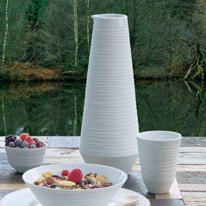 Carafe en porcelaine blanche striée Mood Asa prix promo Decoclico 35.90 € TTC