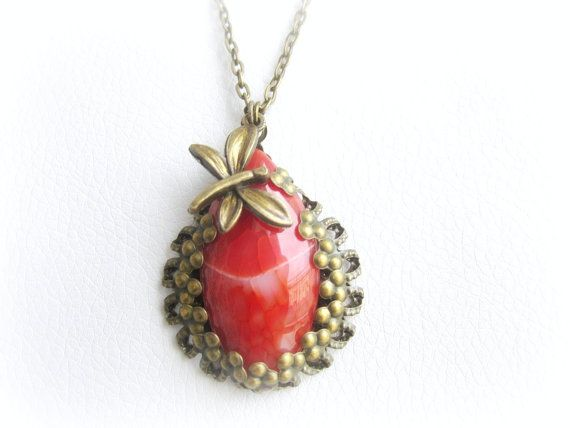 Fire agate stone pendant necklace vintage by MalinaCapricciosa