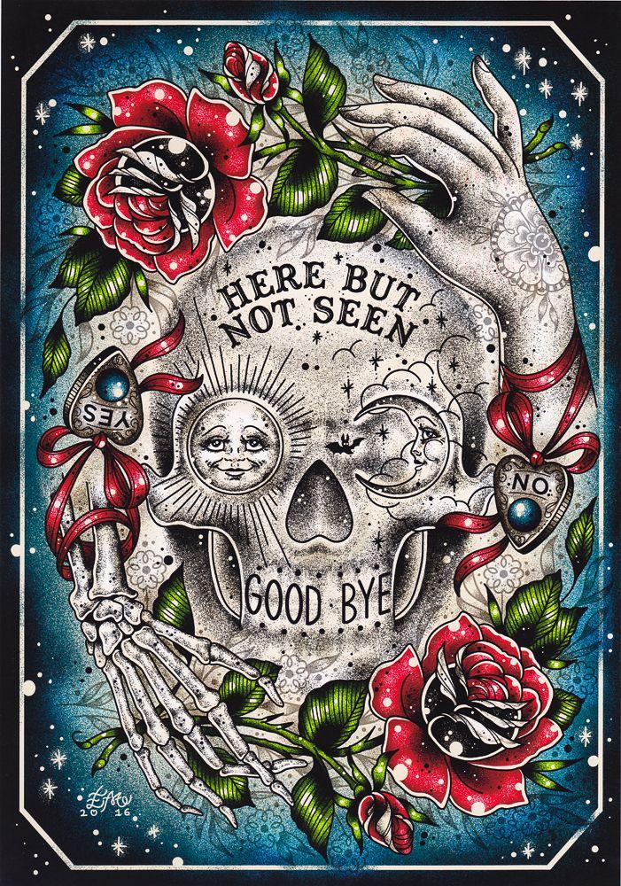 CREEP HEART HERE & SEEN PRINT $15.00 #creepheart #artprint #housewares #art #macabre
