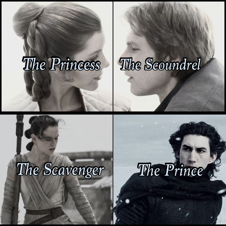 Leia, the princess. Han Solo, the soundrel. Rey, the scavenger. Ben Solor / Kylo Ren, the prince. Star Wars the Force Awakens. Reylo and HanLeia