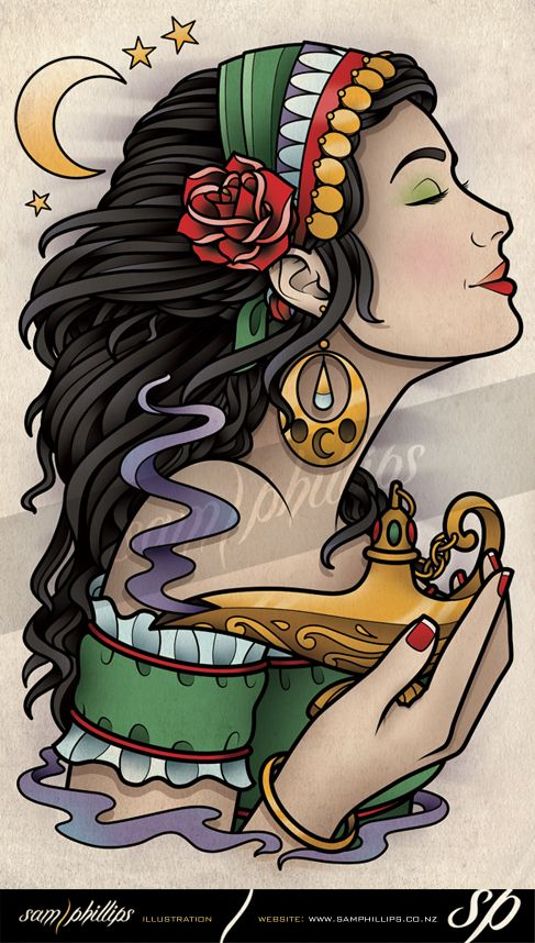 Gypsy Tattoo | Sams Blog: Gypsy Woman and Sailor Girl Leg Tattoo Designs