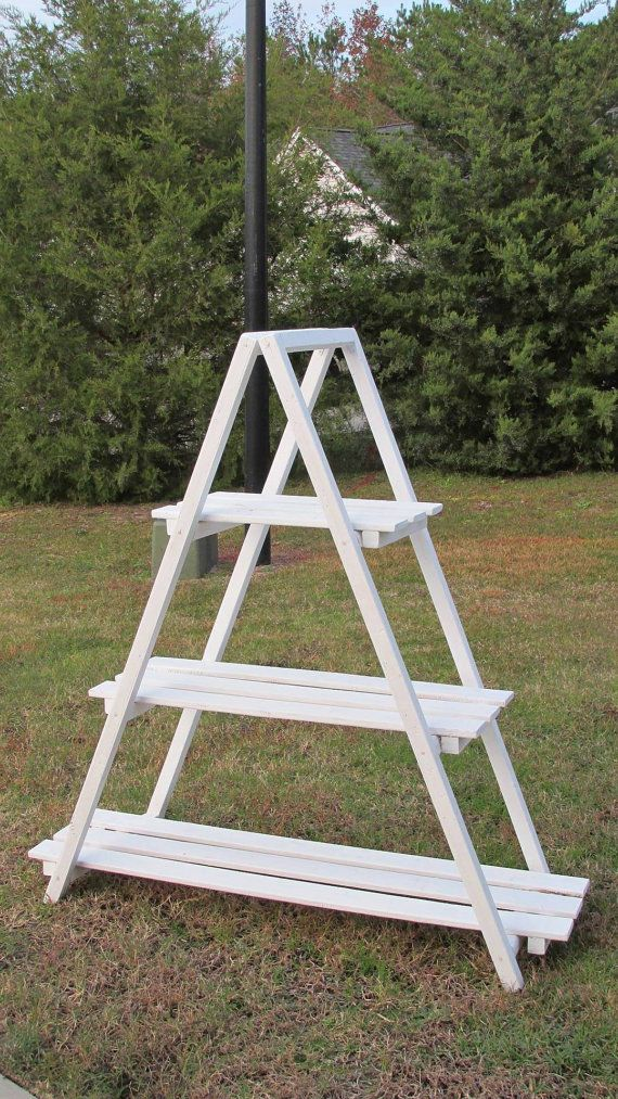 Wooden A-Frame Ladder Shelf  Quilt rack  Plant by ItsPlaneSimple