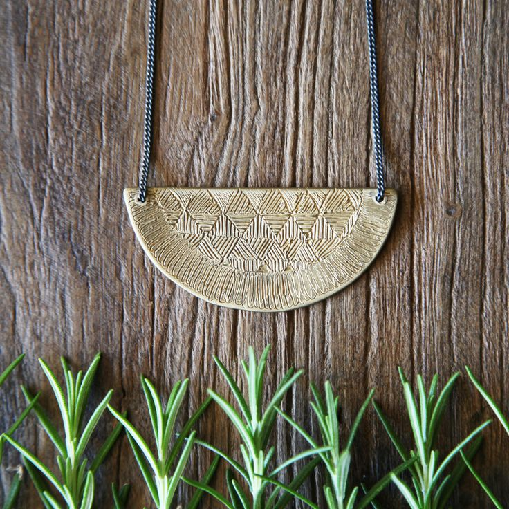 Abby Seymour — Brass woven half-moon plaque necklace
