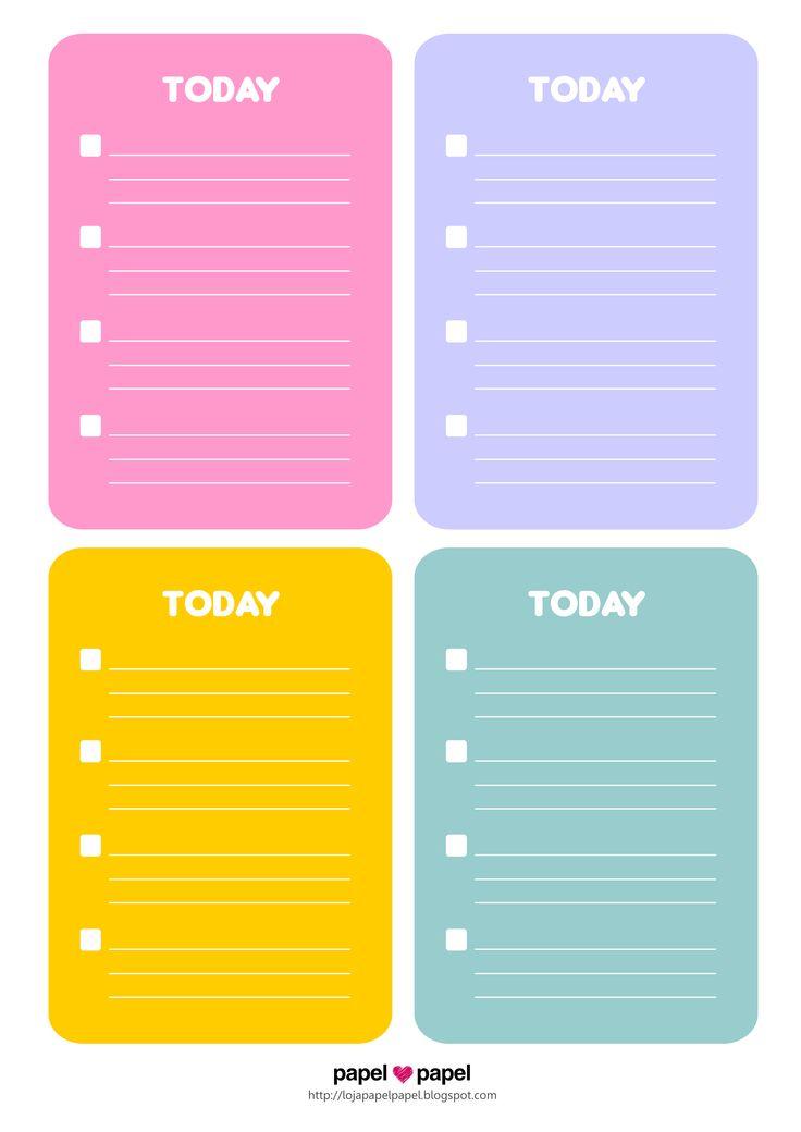 Freebie Bullet Cards - Para anotar as tarefas e conquistas de cada dia <3