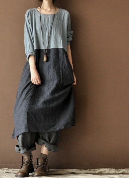 Loose linen dress by clothestalking