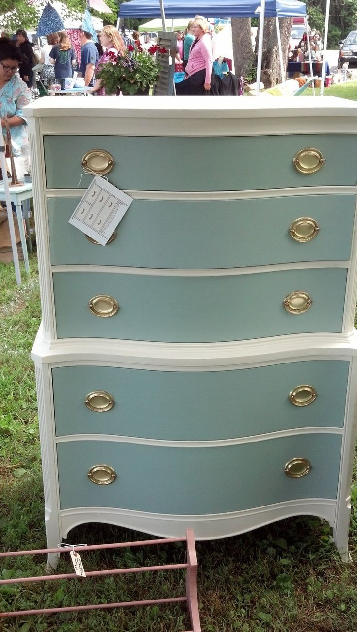 Beautiful Vintage Chest of Drawers/ Duck Egg & White. $350 ...