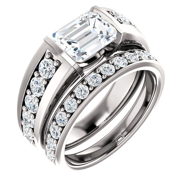 1.5 Ct Emerald Accented Diamond Engagement Ring 14k White Gold – Goldia.com