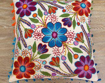 Perú bordado almohadas bordadas flores de ovejas y alpaca lana 16 x 16 Perú alzaba fundas
