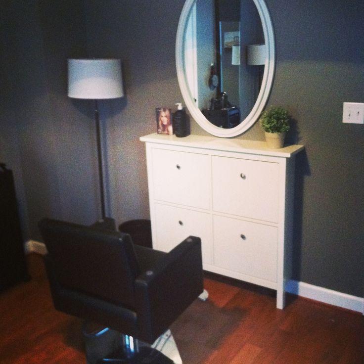 Ikea Hemnes shoe cabinet as a salon stylist station. Awesome.