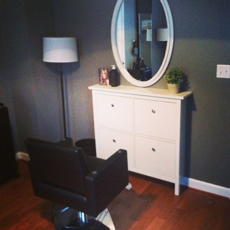Ikea Hemnes shoe cabinet as a salon stylist station. Awesome.