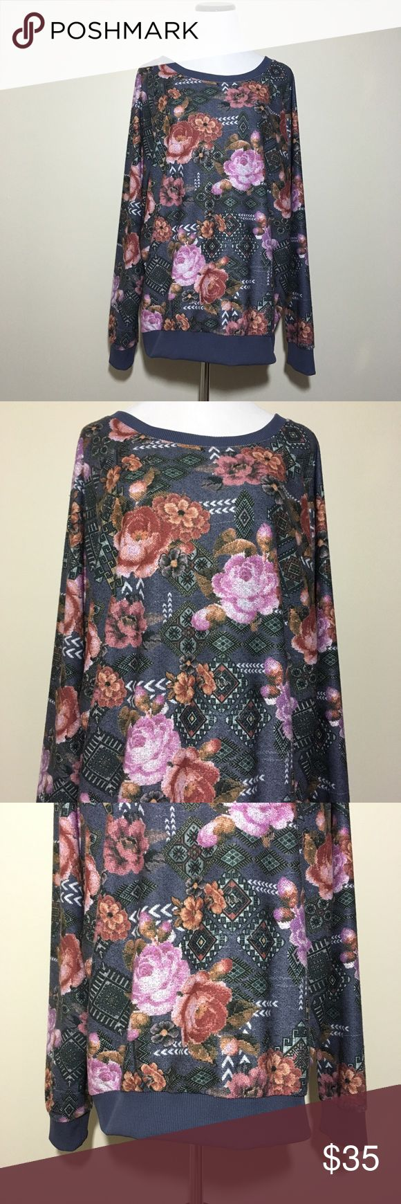 River Island Floral Tapestry Printed Top Floral tapestry printed top by River Island. Slightly textured. Lightweight. 1 small spot of the sleeve (last picture). UK size 18 is equivalent to a US size 14. Please refer to measurements to determine fit. Great condition. No rips or stains.  Measurements (approximate, taken laying flat): Underarm to underarm: 25 inches Length: 28 inches  Material: 100% polyester  ❌No trades❌ River Island Tops