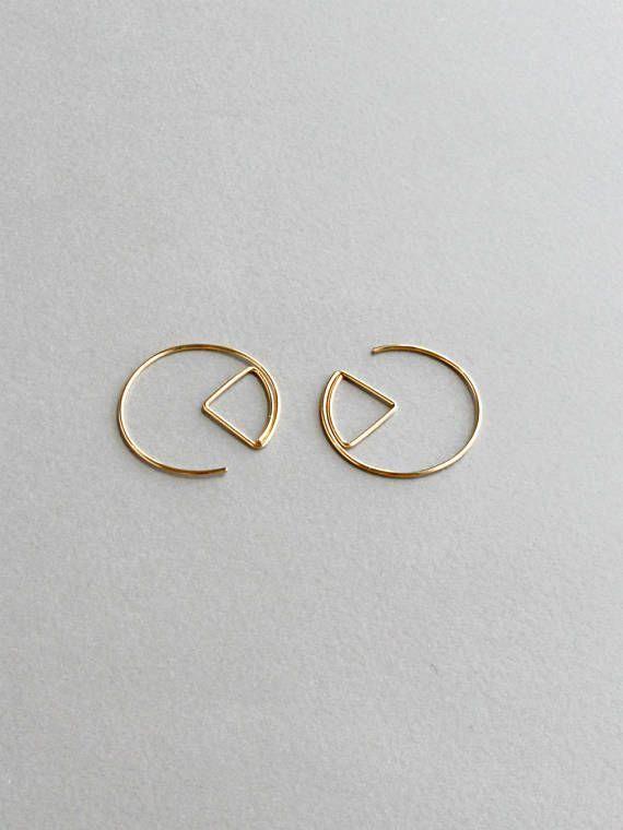 Gold Hoop Earrings Argentium Triangle Hoop Earrings 14k Yellow or Rose Gold Filled Hammered hoop earrings Sterling Silver Silver Hoops