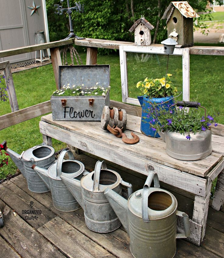 Junk Garden Containers Around The Deck