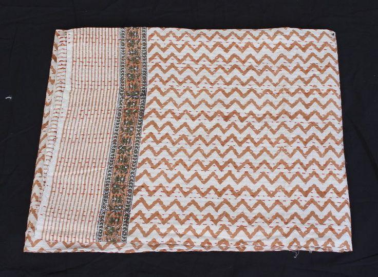 Indian Hand Block Print Cotton Kantha Bed Cover Throw Bedspread Blanket 07 #Handmade #ArtsCraftsMissionStyle