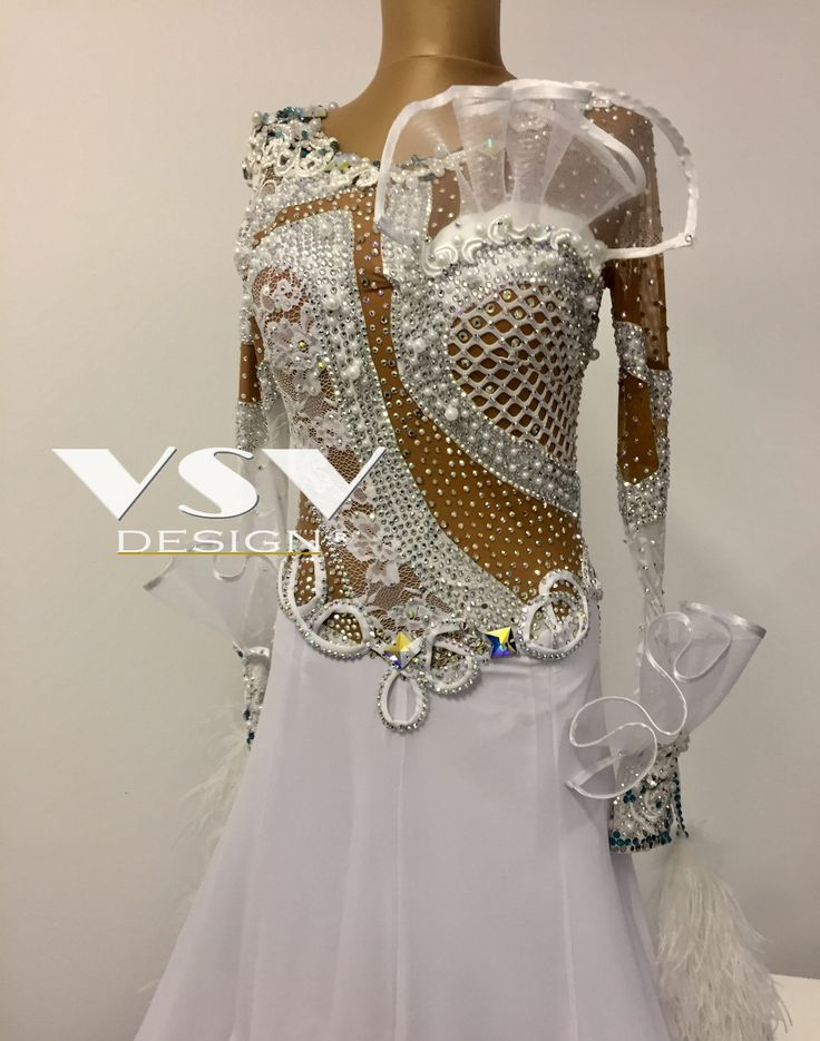Beautiful White Ballroom dress by VSV Design, made with professionalism and tailored to the needs of our clients with attention to every detail.