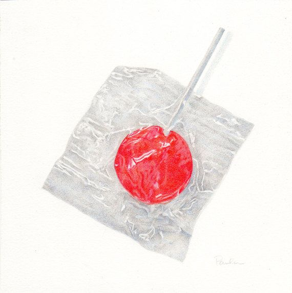 Red Candy Sucker - PRINT of an Original Colored Pencil Drawing - Candy Art - Small Food Art - 8 x 8