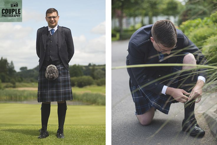 The golf loving groom gets his photo taken in front of the golf course, and fixing his complicated laces! Weddings at Tulfarris Hotel & Golf Resort photographed by Couple Photography.