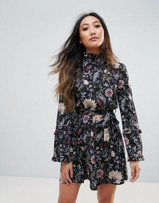 Parisian High Neck Floral Dress | Floral kimono fashion
