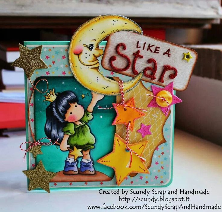 Card moon and stars
