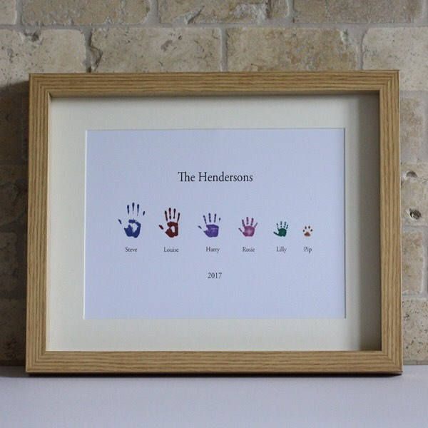 Family of six handprint Picture (Framed), Personalised Picture, Personalised Print, Family Picture, Handprint Picture, Keepsake