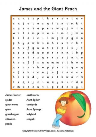 James and the Giant Peach word search