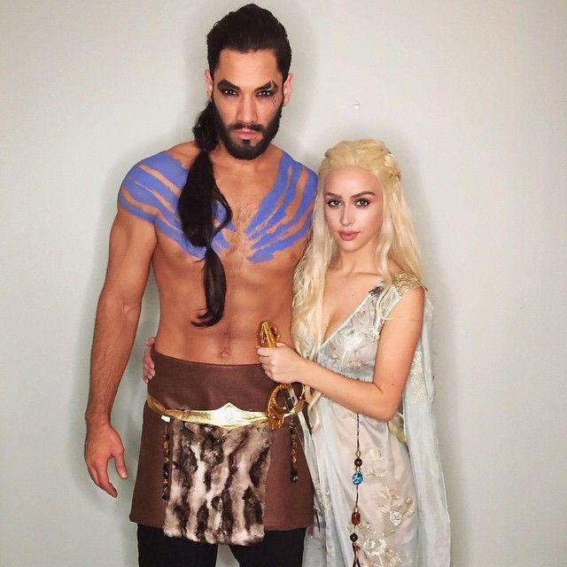 We had tooooooo Daenerys & Khal ❤️ I made Brett's costume #mymoonHappy Halloweeen!