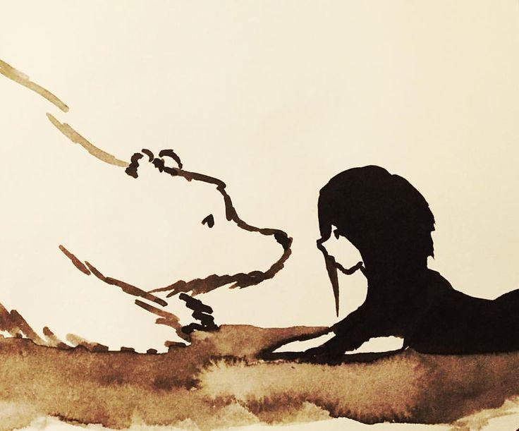 Ink - by Ashya Lane-Spollen.  'Befriending a bear.'  #illustration #art #ink #bear #friends #drawing #painting #winter #nosetonose #artblog #artist #illustrator #dessin #disegno #arte #ours #artlife #bears #dublin #ireland