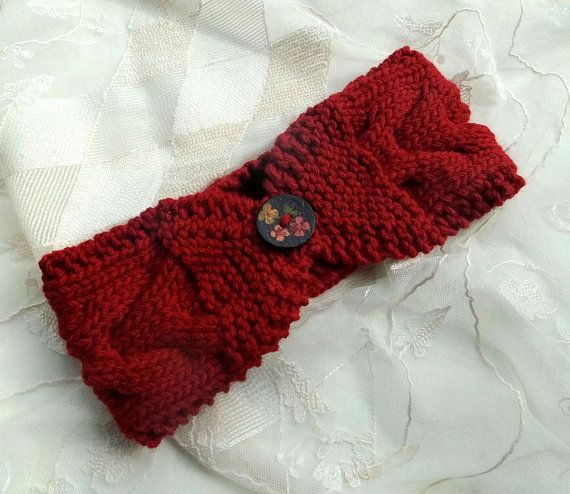 Hand Knit Women's Headband Turban in Red adorned от Need4KnitShop