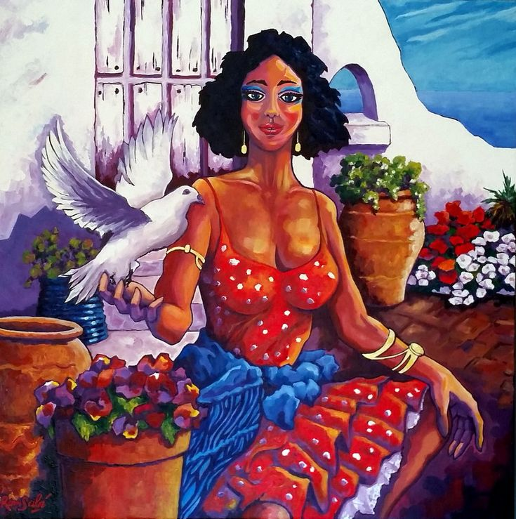 # 392 Madona, flores y paz. - Autor: RomSabi, acrílico y esmaltes - sobre tabla de madera, 70x70cm.