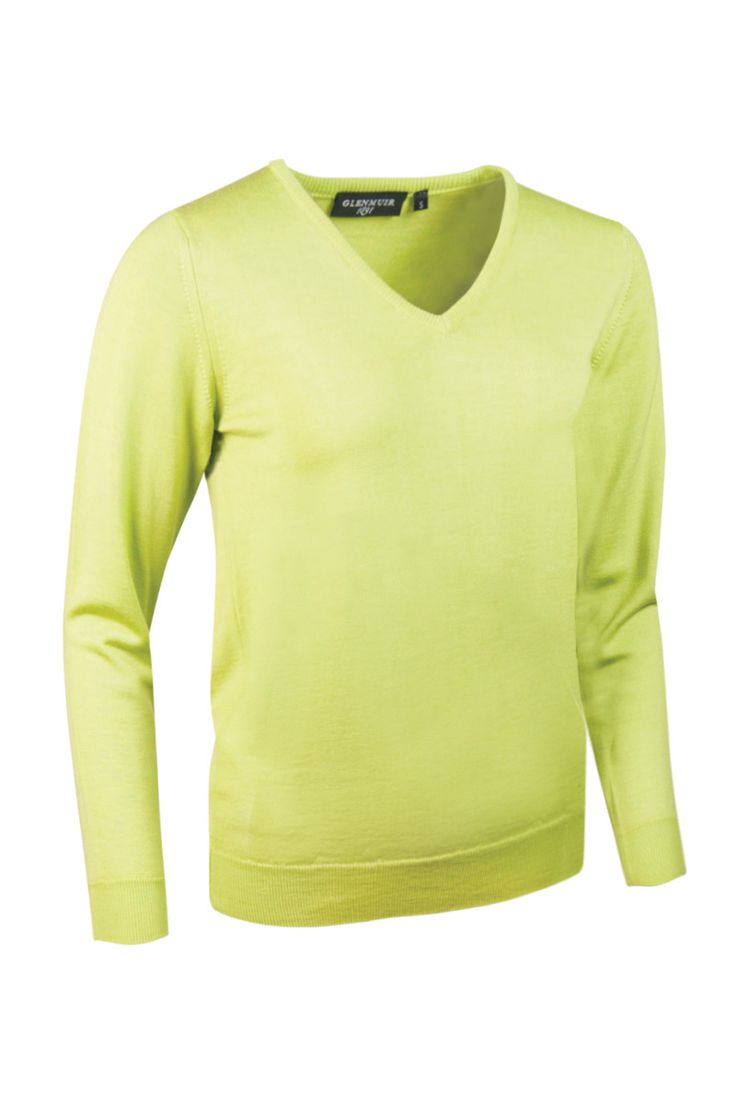 Glenmuir Ladies Maya extra fine merino wool v neck golf sweater, 100% merino, solid colour, shaped fit, wool mark, Glenmuir 1891 embroidery on right sleeve GOLF CLOTHING SALE