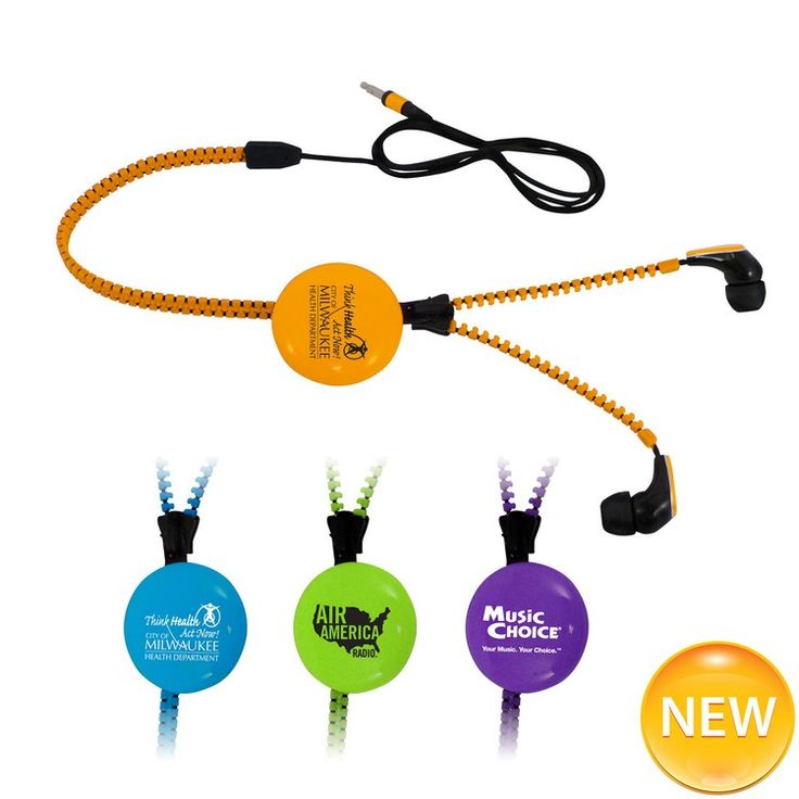 """These fun zipper earbuds will get some attention with its unique design and colors. The cord is 42"""" long so it will be long enough for all your devices where ever they are."""