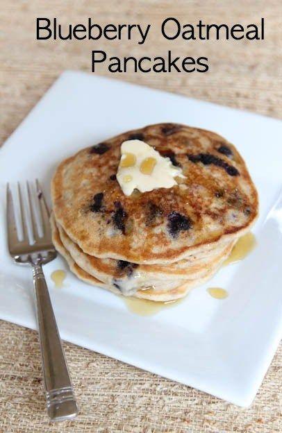 Freezer Friendly Blueberry Oatmeal Pancakes