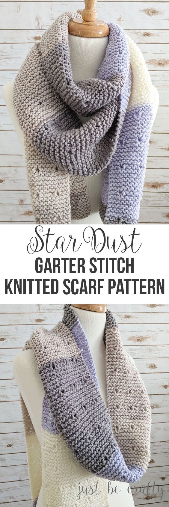 Star Dust Knitter Garter Stitch Scarf Pattern | Free Pattern by Just Be Crafty